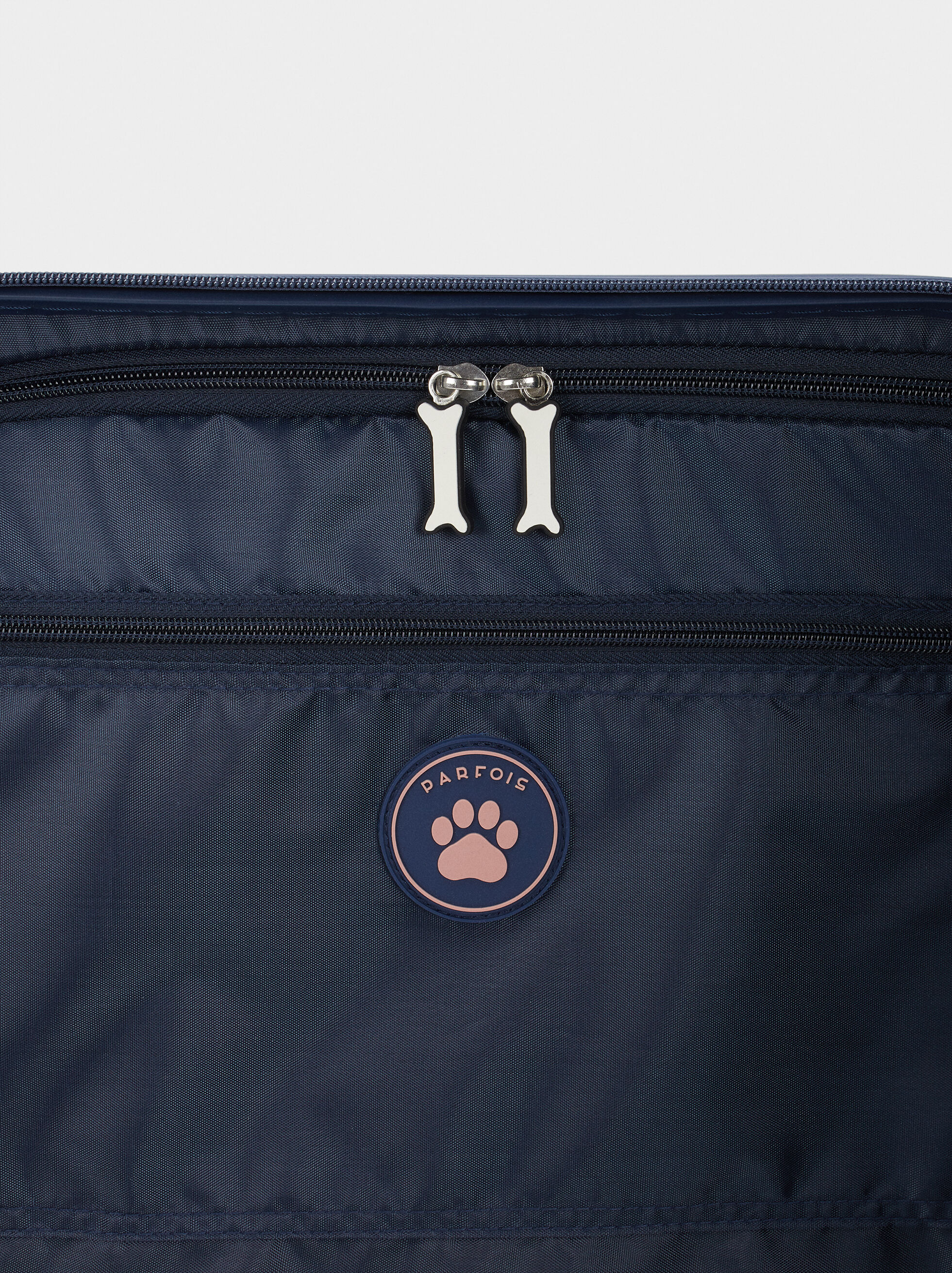 Printed Trolley Suitcase, Navy, hi-res