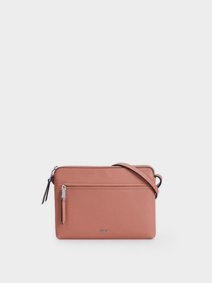 Plain Crossbody Bag With Outer Pocket, Pink, hi-res