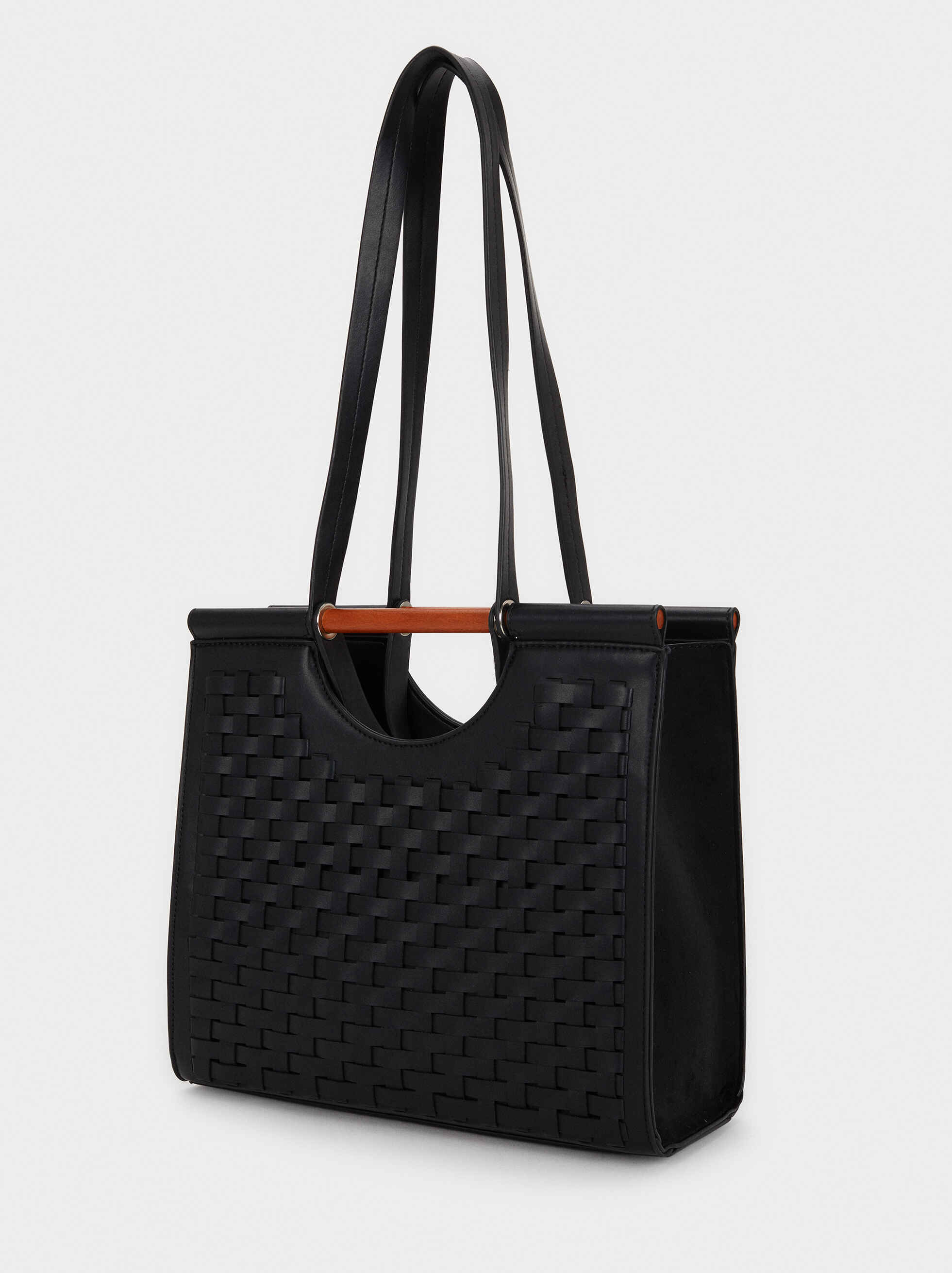 Braided Tote Bag, Black, hi-res
