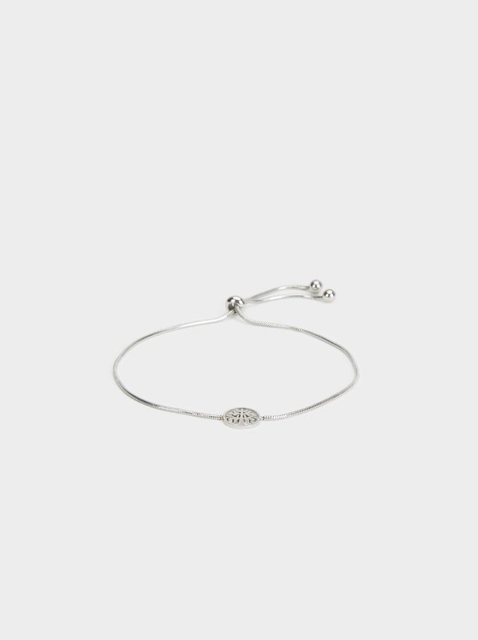 Steel Adjustable Bracelet With Tree, Silver, hi-res