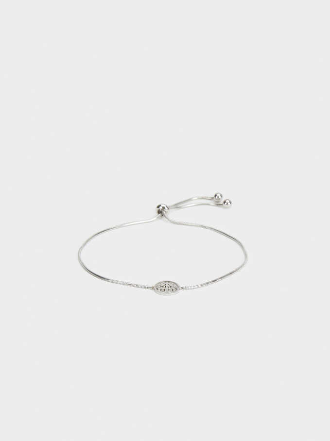 Steel Adjustable Bracelet With Tree, Silver, hi-res