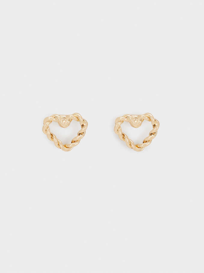 Short Woven Heart Earrings, Golden, hi-res