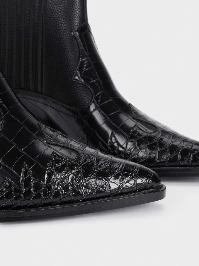Cowboy Ankle Boots, Black, hi-res