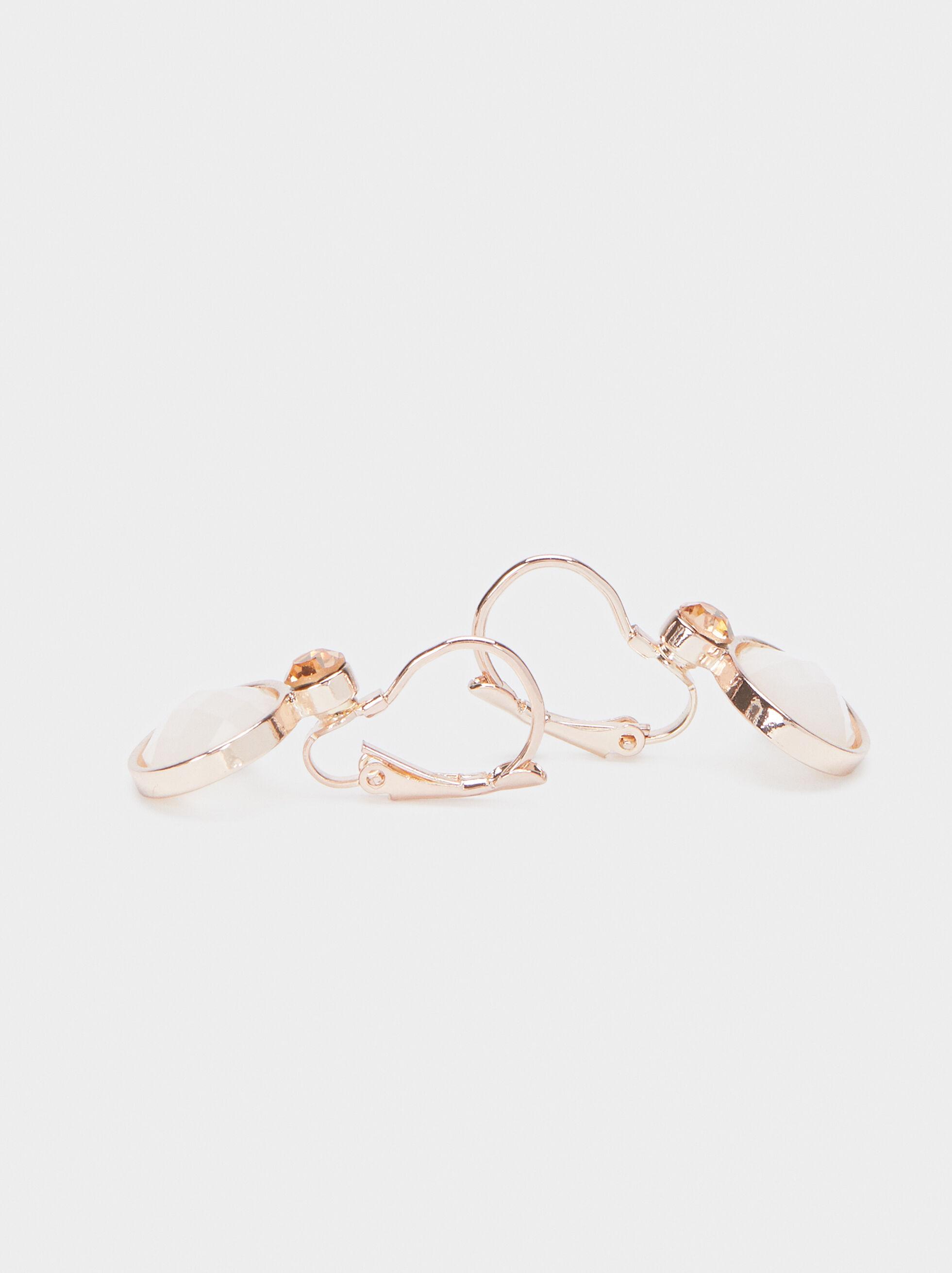 Short Rose Gold Earrings, Orange, hi-res