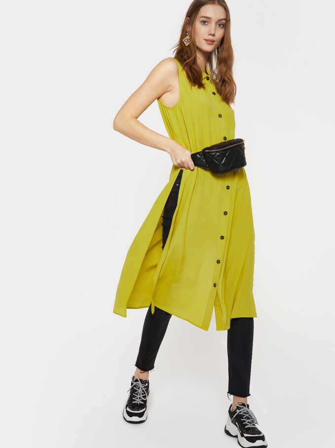 Sleeveless Shirt Dress, Yellow, hi-res