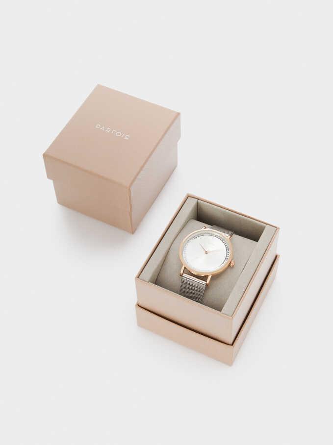 Reloj Correa De Malla Metálica Caja Redonda, Plateado, hi-res