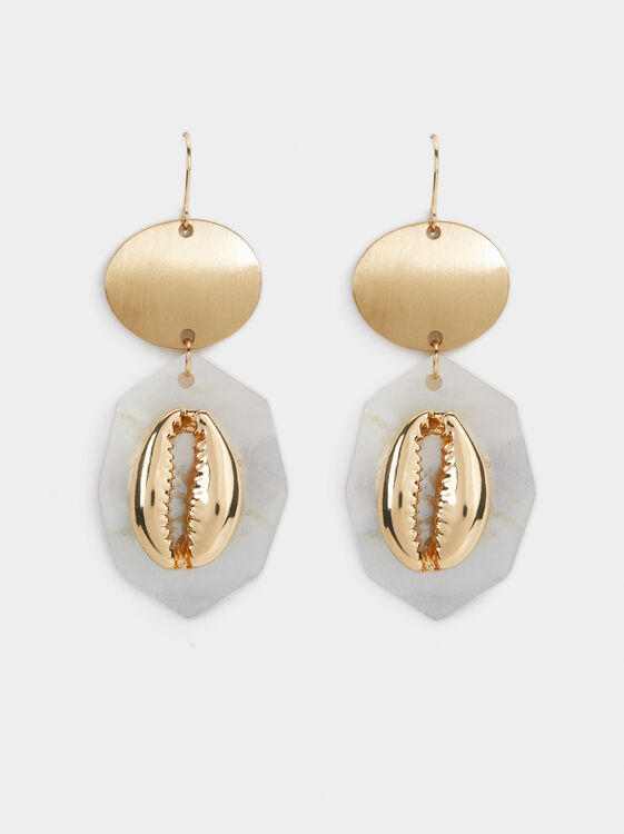 Golden Basics Seashell Dangle Earrings, Golden, hi-res