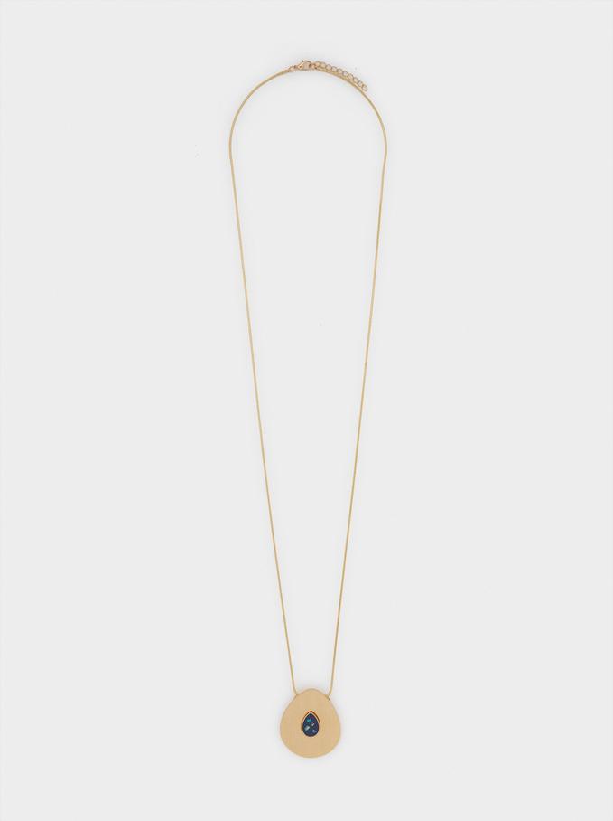 Long Enamel Necklace, Navy, hi-res
