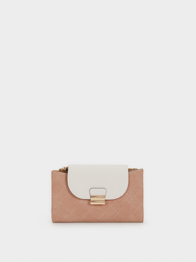 Large Purse With Topstitching, Pink, hi-res