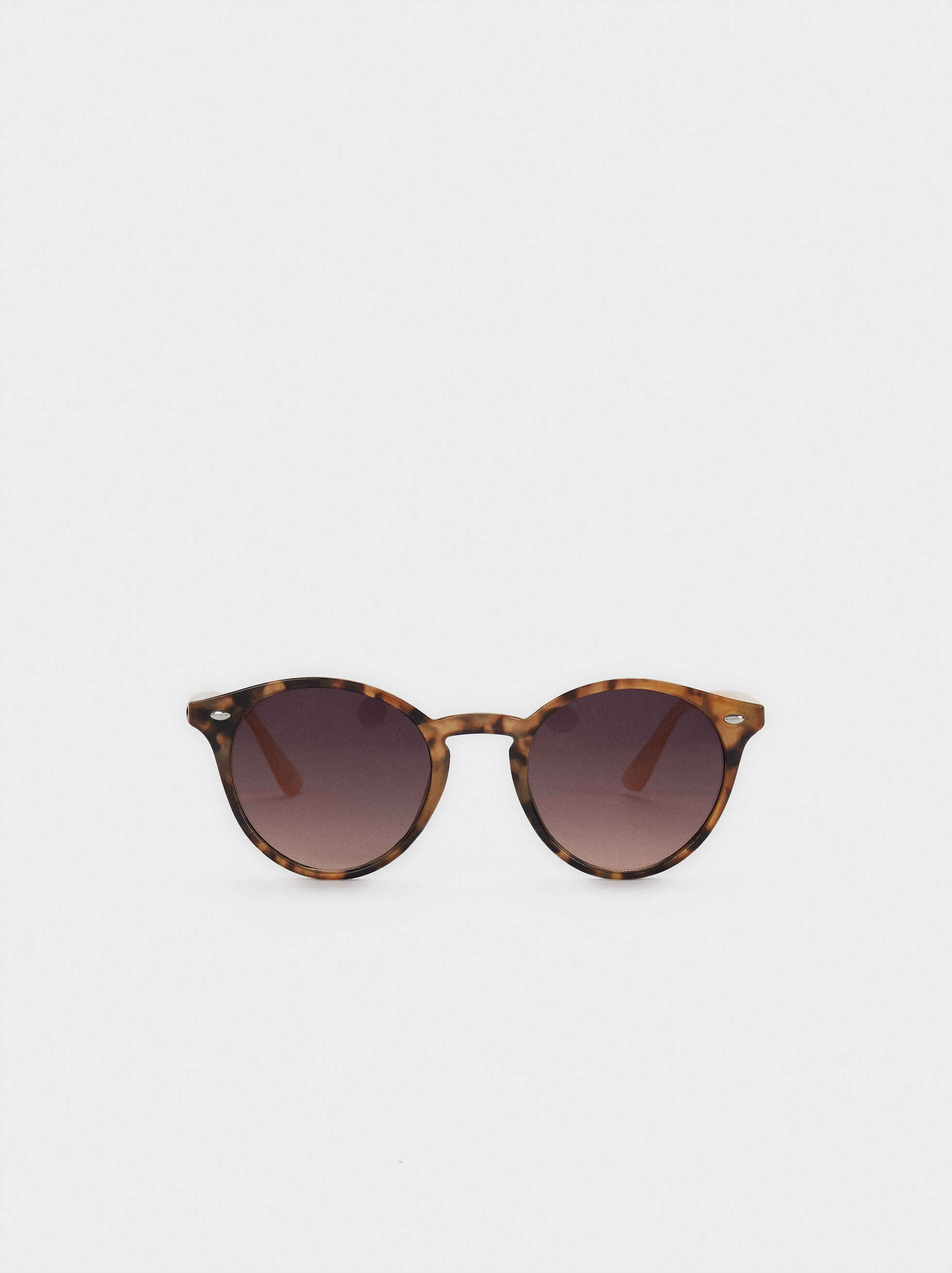 Sunglasses With Round Plastic Frames, Brown, hi-res
