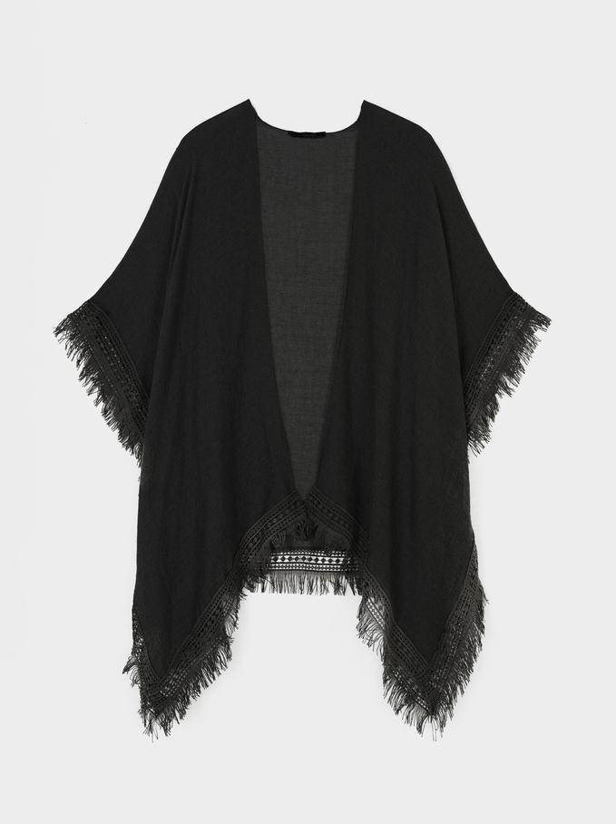 Open Kimono With Fringe, Black, hi-res