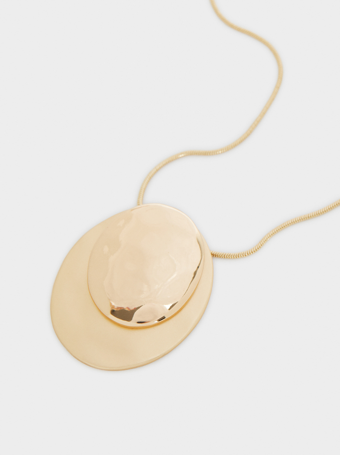 Necklace With Gold Pendant, Golden, hi-res