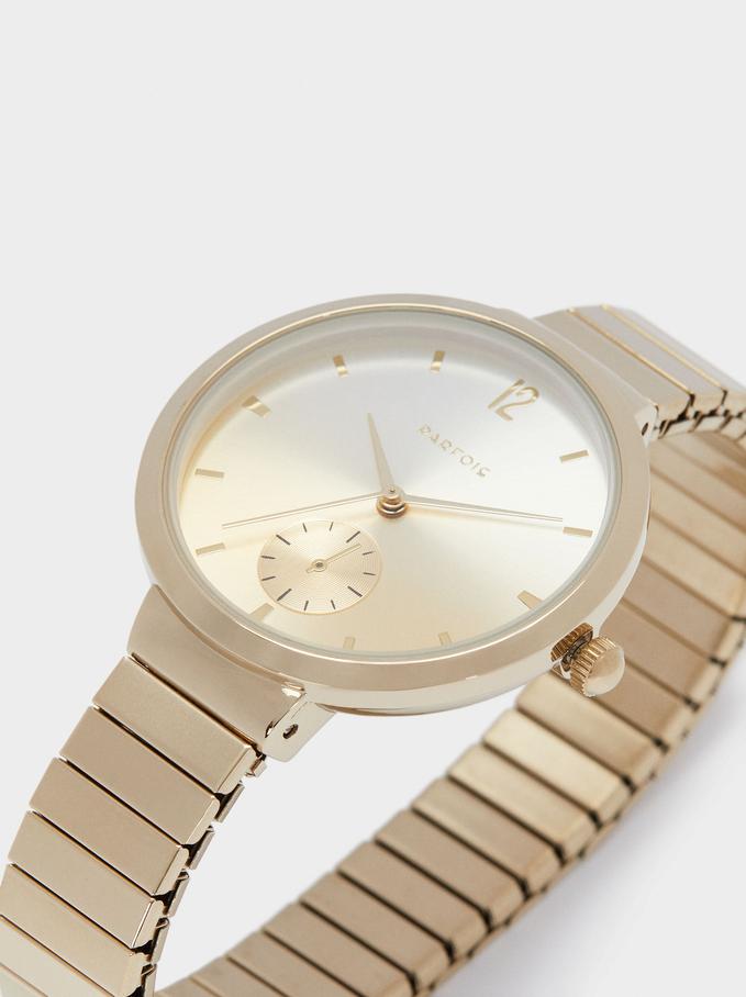 Reloj De Pulsera De Acero, Dorado, hi-res