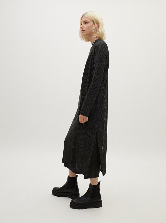 Kimono En Maille Ouvert, Noir, hi-res