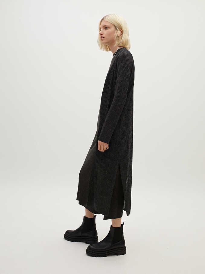 Open Knit Kimono, Black, hi-res