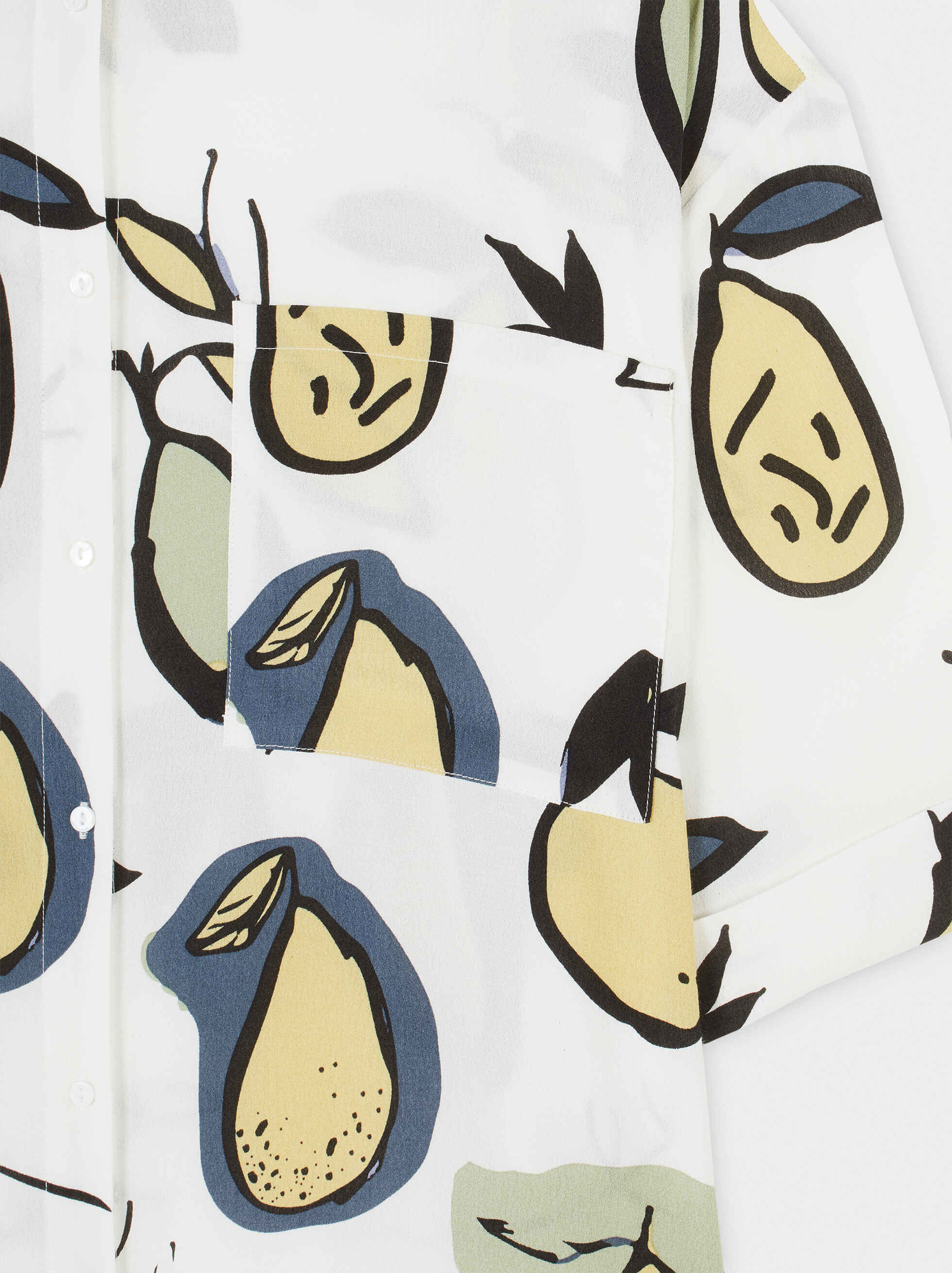 Pear Print Loose-Fitting Shirt, Ecru, hi-res