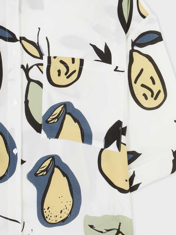 Camisa Fluida Estampado Peras, Crudo, hi-res