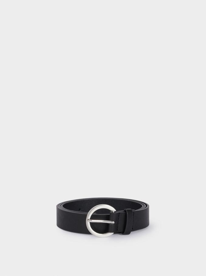 Plain Belt With Buckle, Black, hi-res