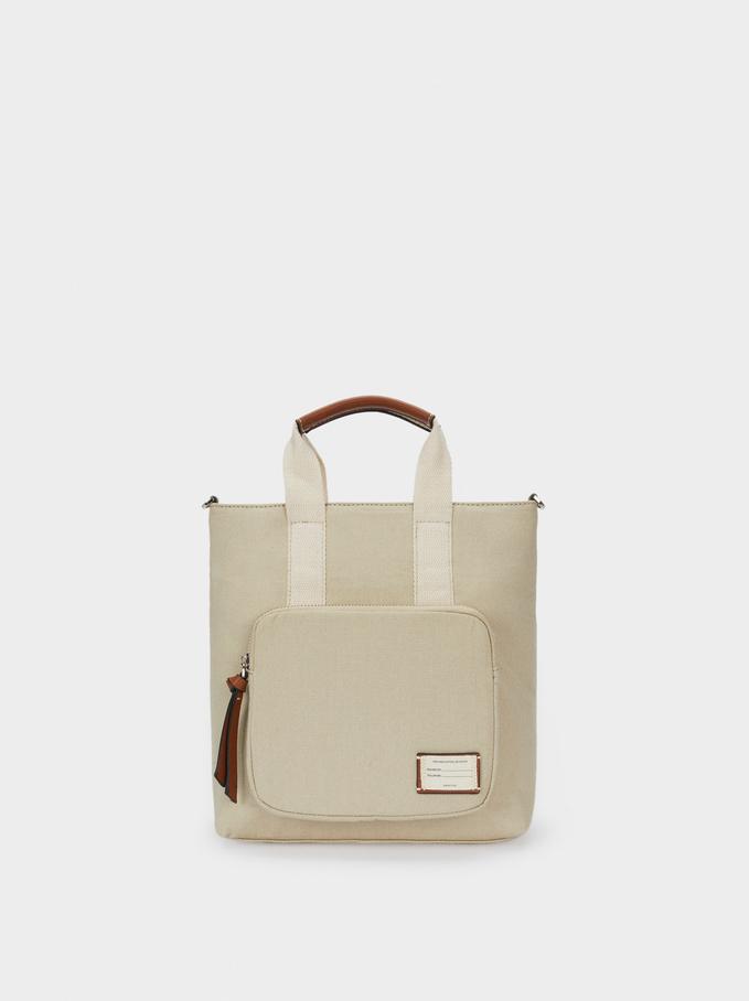 Multi-Way Canvas Backpack With Handles, Ecru, hi-res
