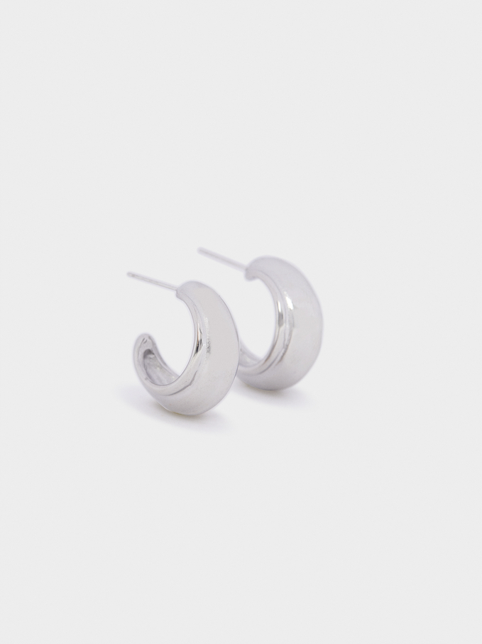Stainless Steel Golden Hoop Earrings, Silver, hi-res