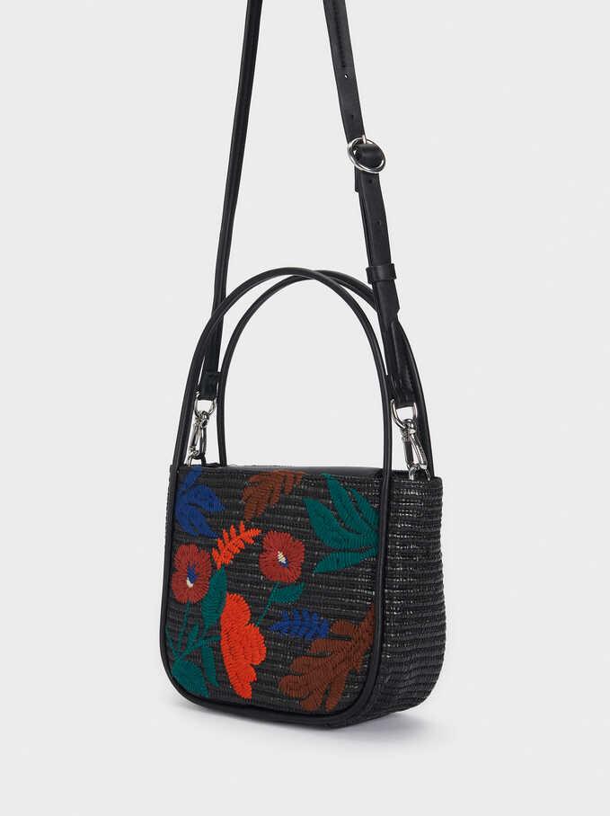 Raffia Crossbody Bag With Detachable Handle, Black, hi-res
