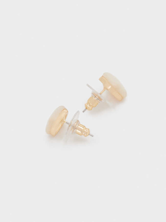 Short Golden Earrings With Crystal, Golden, hi-res