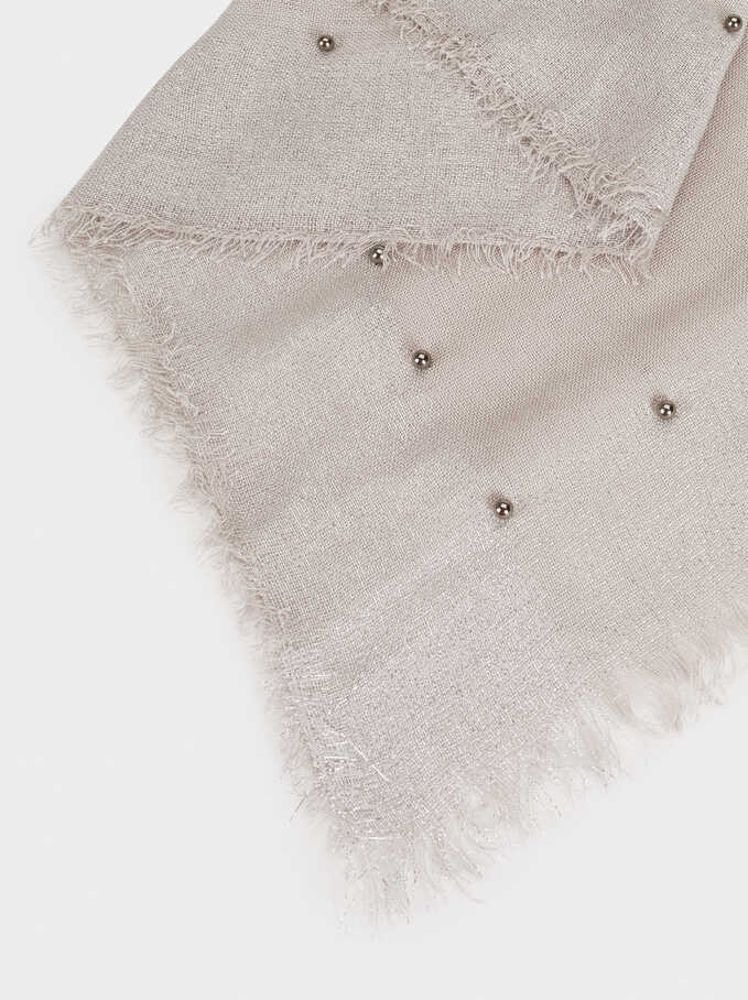 Scarf With Faux Pearls, Grey, hi-res