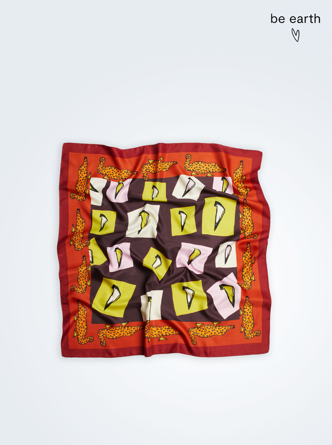 Printed Square Neckerchief Made From Recycled Materials, Orange, hi-res