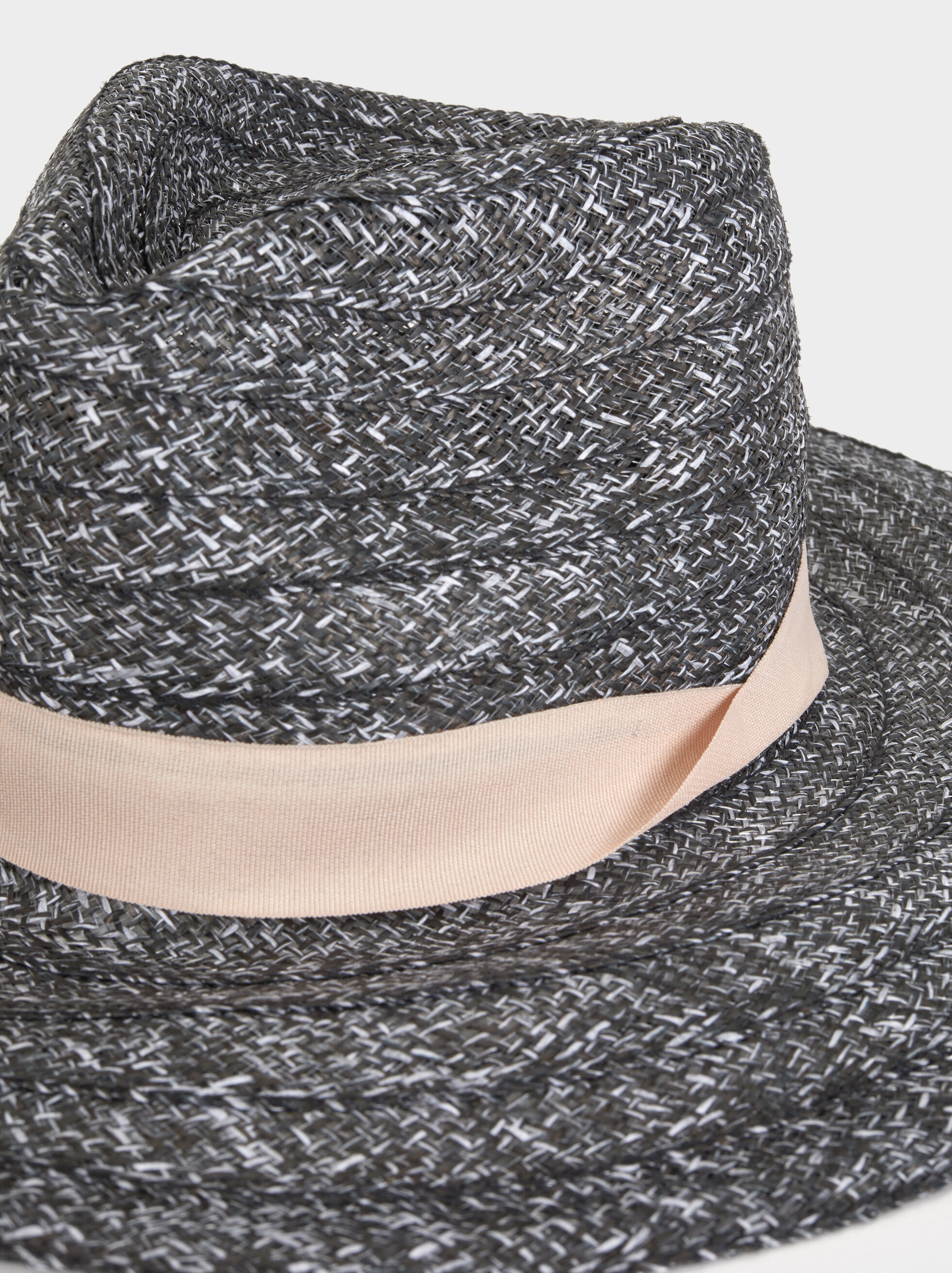 Faux Raffia Hat, Black, hi-res