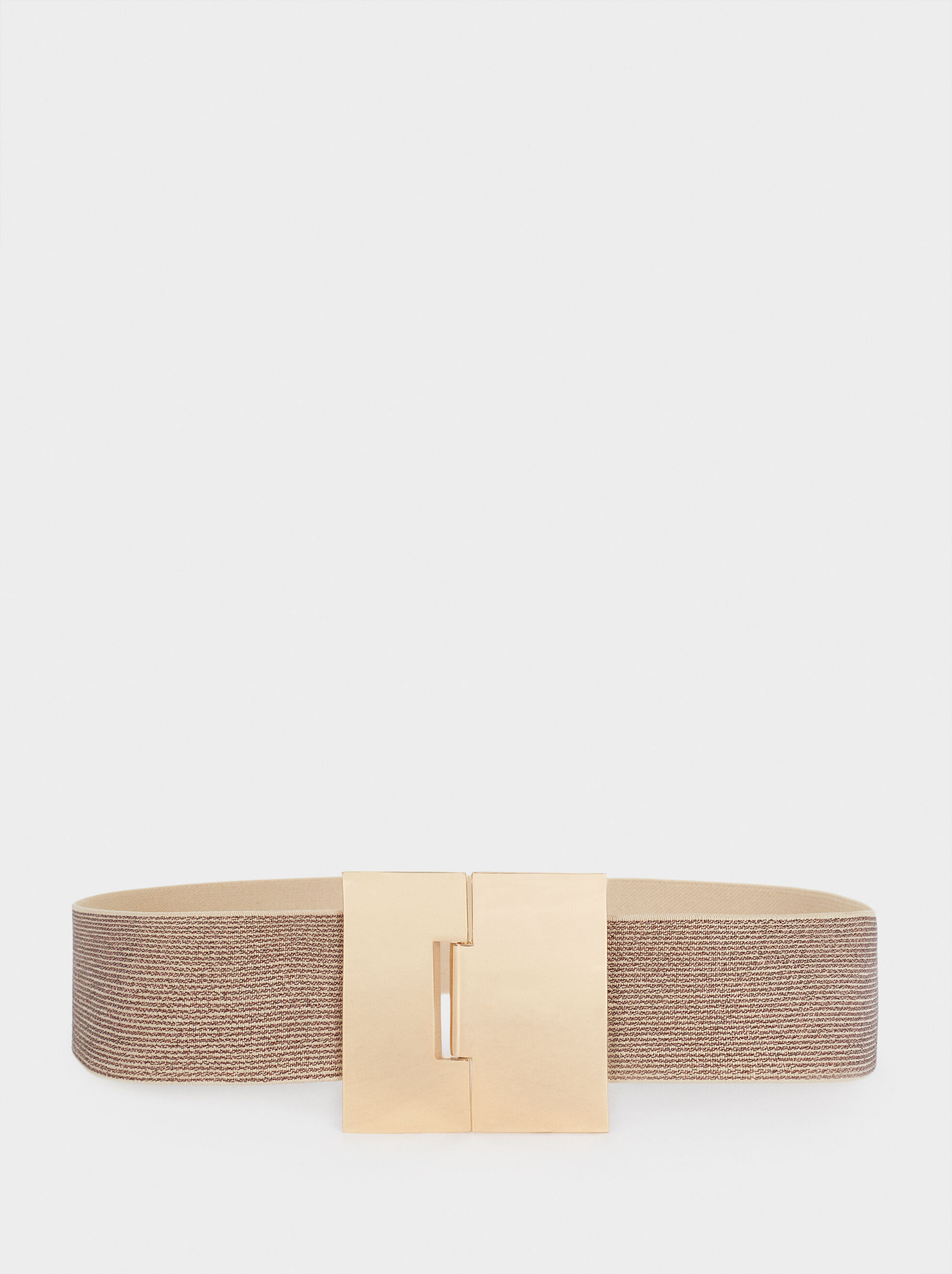 Stretch Belt With Golden Buckle, Golden, hi-res