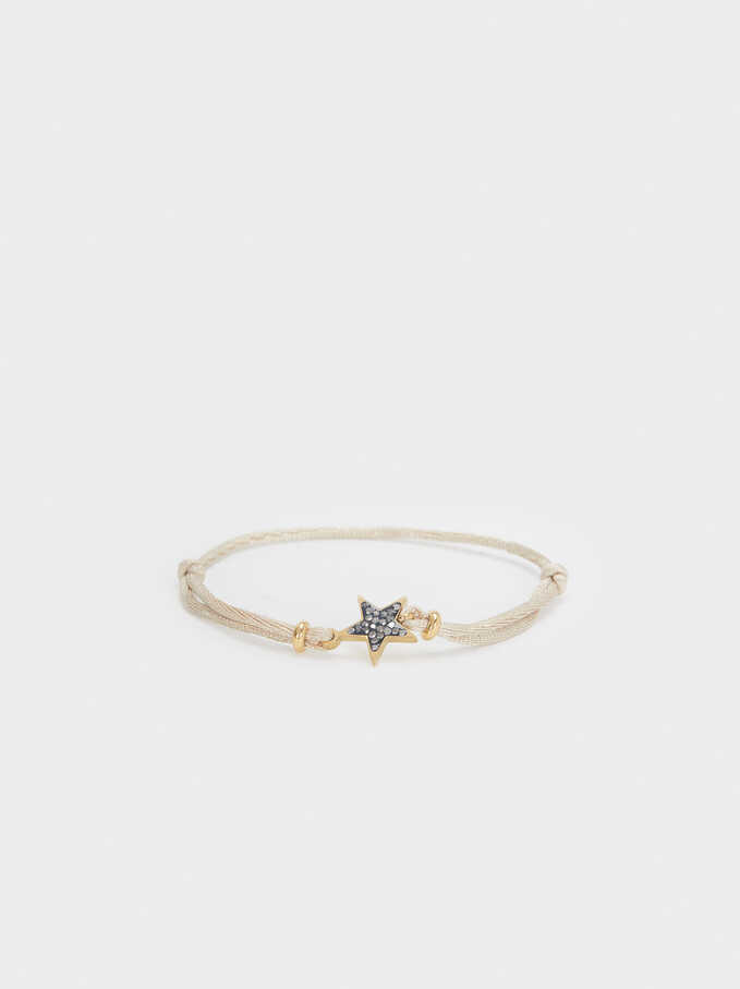 Adjustable Steel Bracelet With Star, Beige, hi-res