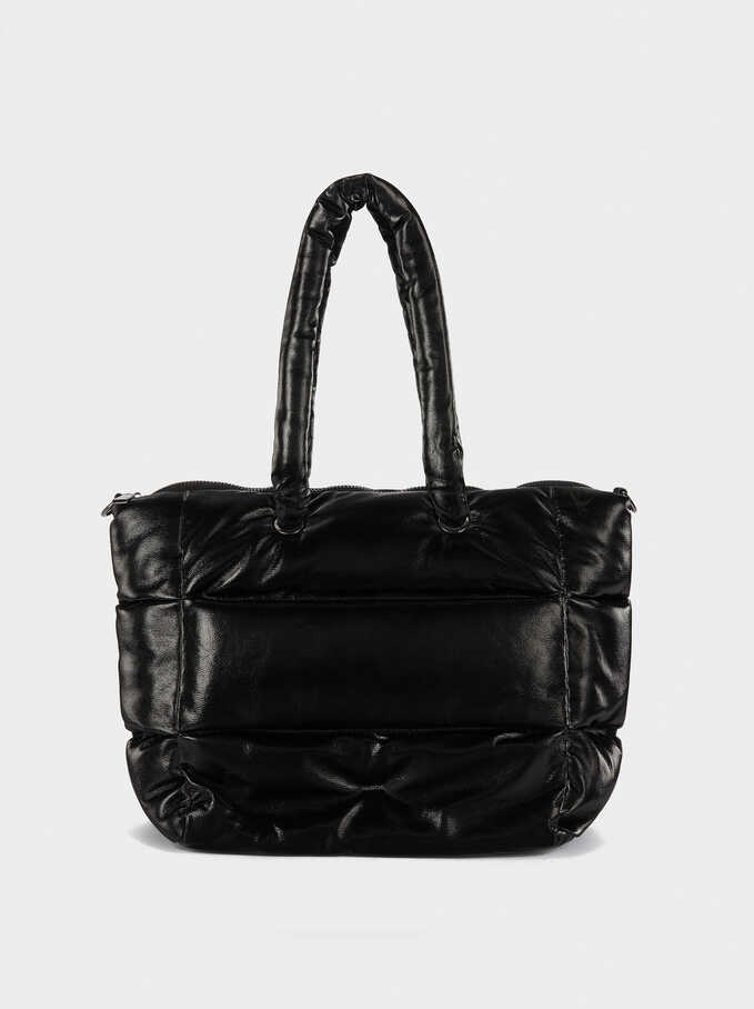 Padded Tote Bag, Black, hi-res