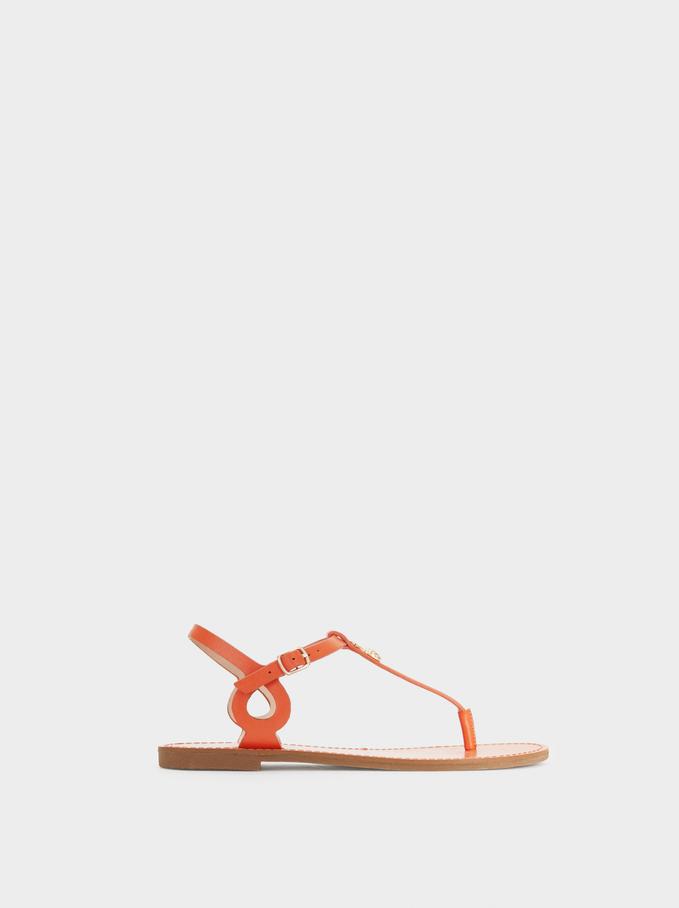 Pineapple-Detail Flat Sandals, Orange, hi-res