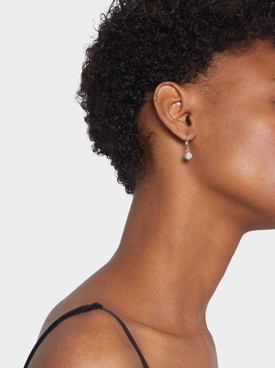 925 Silver Short Rhinestone Earrings, , hi-res