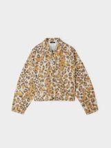 Animal Print Denim Jacket, Orange, hi-res