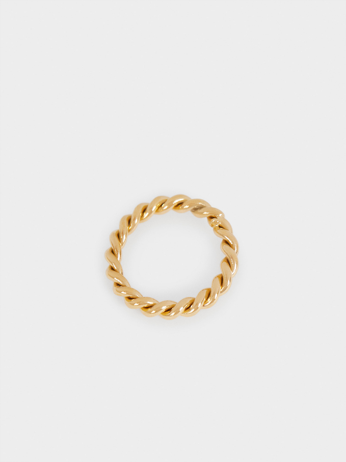 Steel Ring With Woven Detail, Golden, hi-res