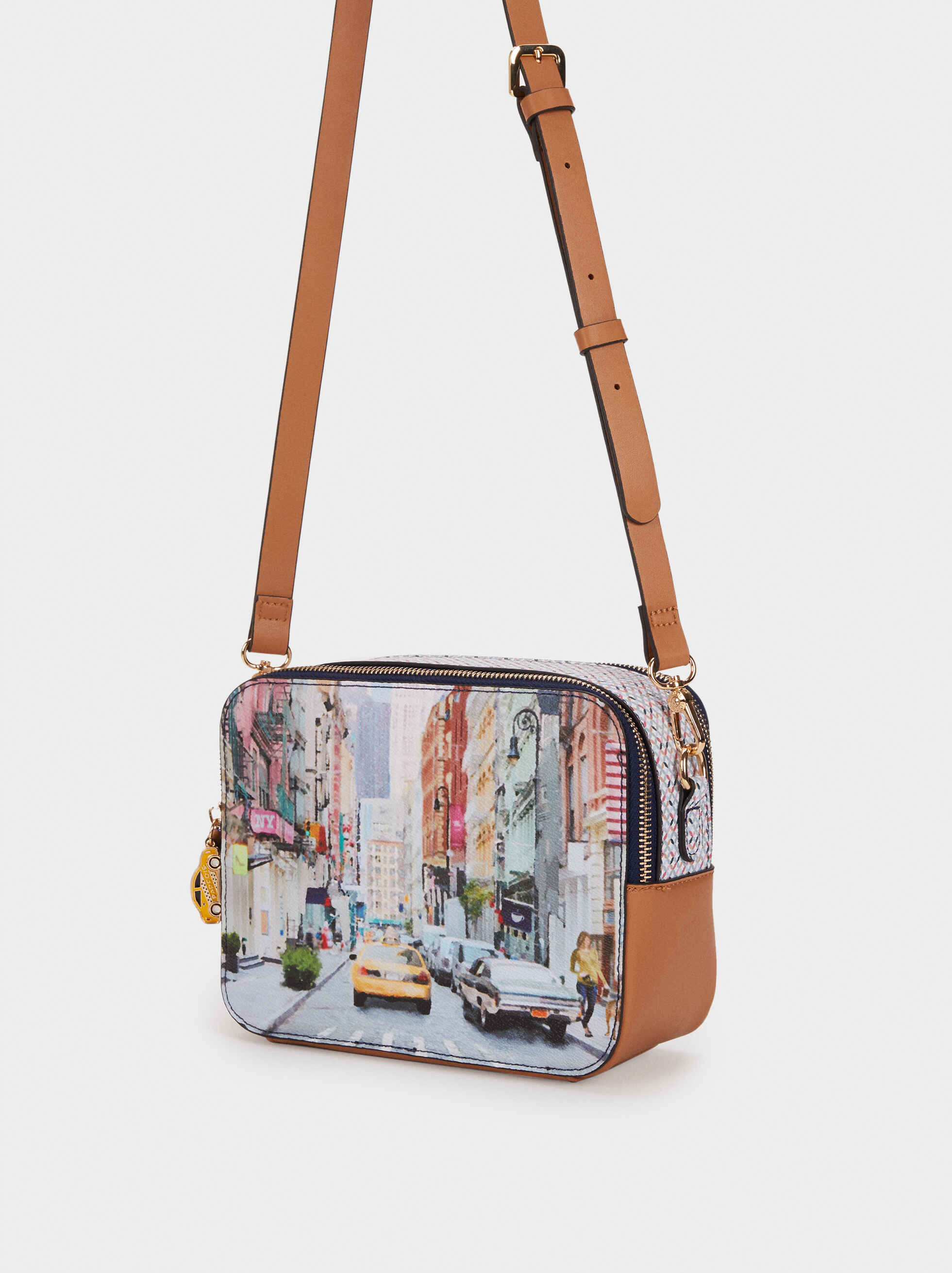 New York Print Shoulder Bag, Camel, hi-res