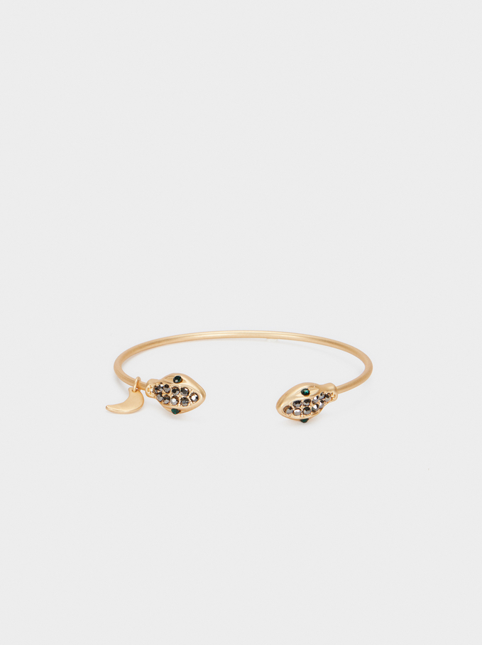 Gold Cobra Cuff With Crystal Detail, Golden, hi-res