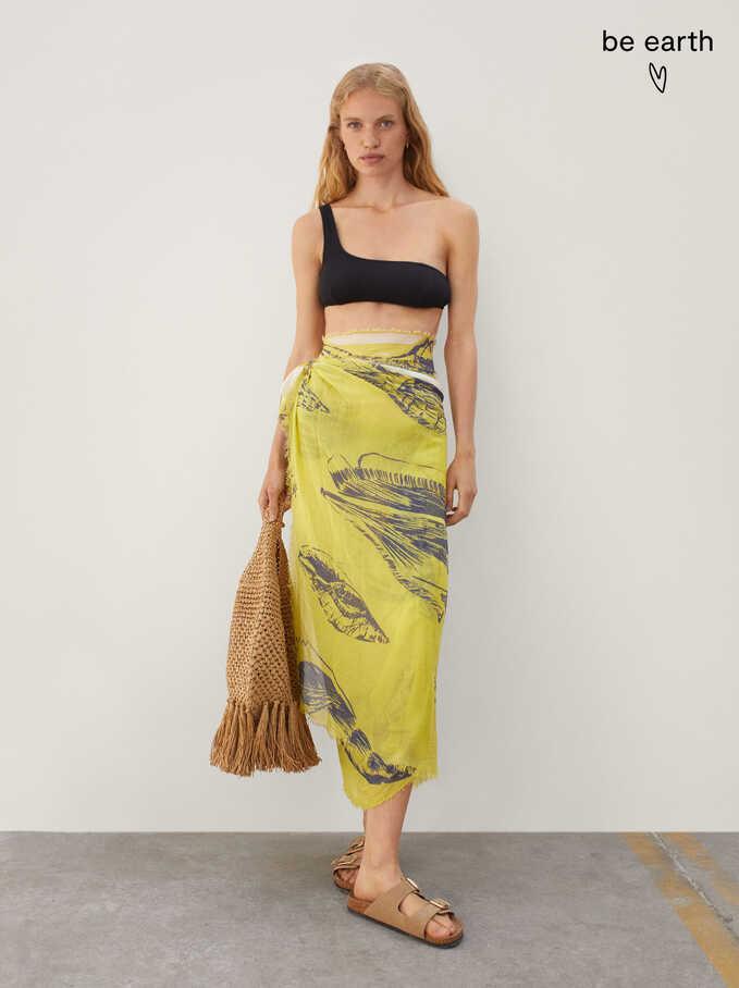 Shell Print Scarf, Yellow, hi-res