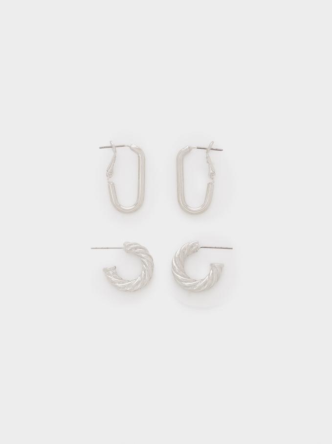 Set Of Golden Hoop Earrings With Raised Effect, Silver, hi-res