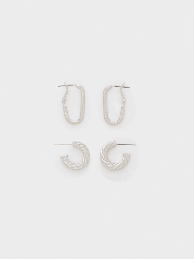 Set Of Silver Hoop Earrings With Raised Effect, Silver, hi-res