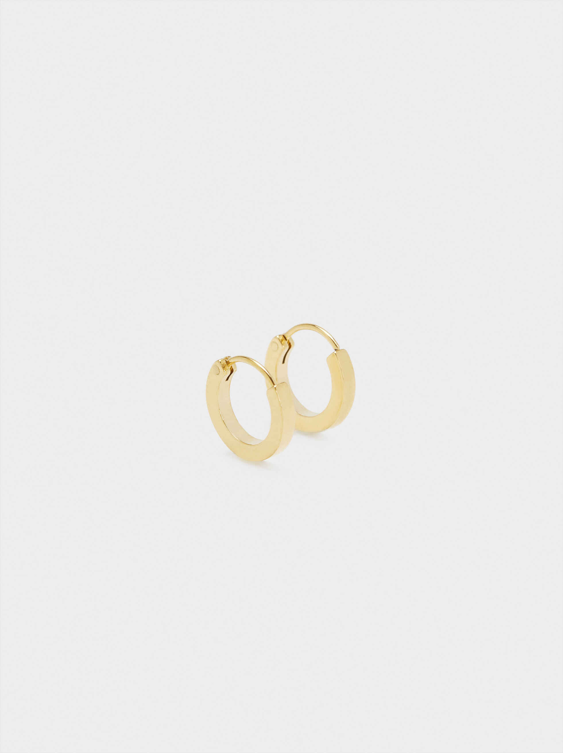 Small Gold Stainless Steel Hoop Earrings, , hi-res