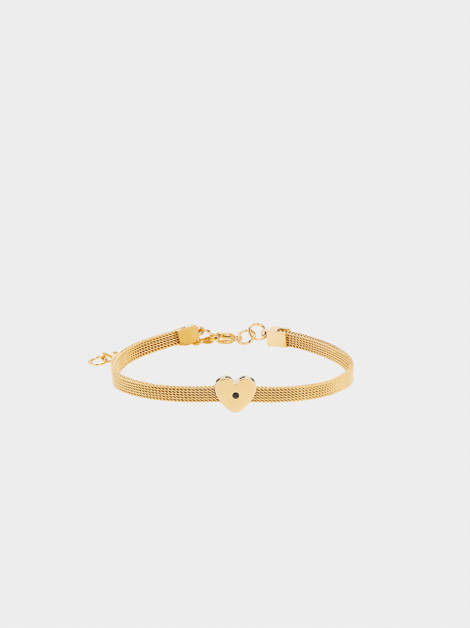 Steel Bracelet With Heart, Golden, hi-res
