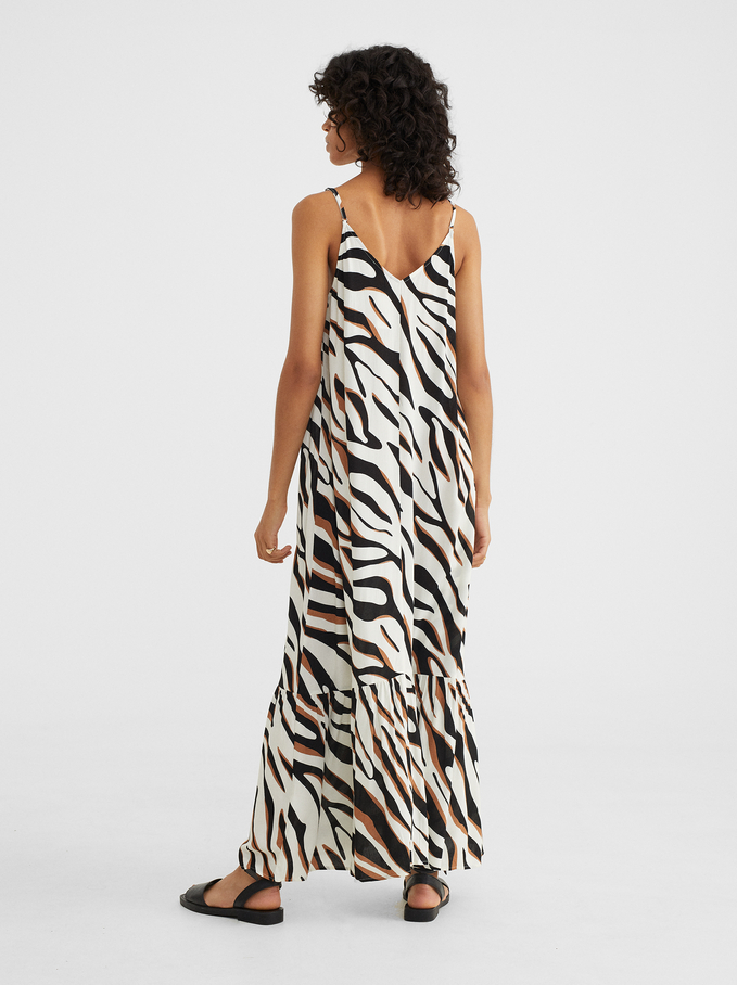 Strappy Dress With An Animal Print, Ecru, hi-res