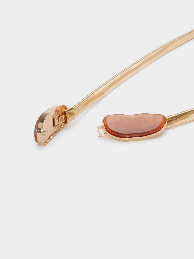 Metal Stretch Belt, Golden, hi-res