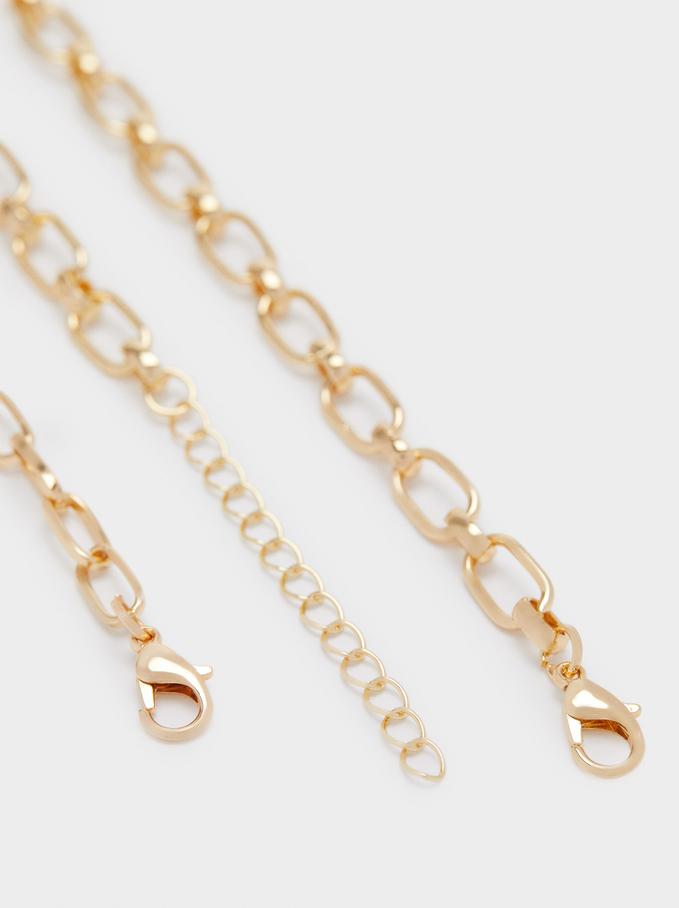 Set Of Golden Eye Necklaces, Golden, hi-res