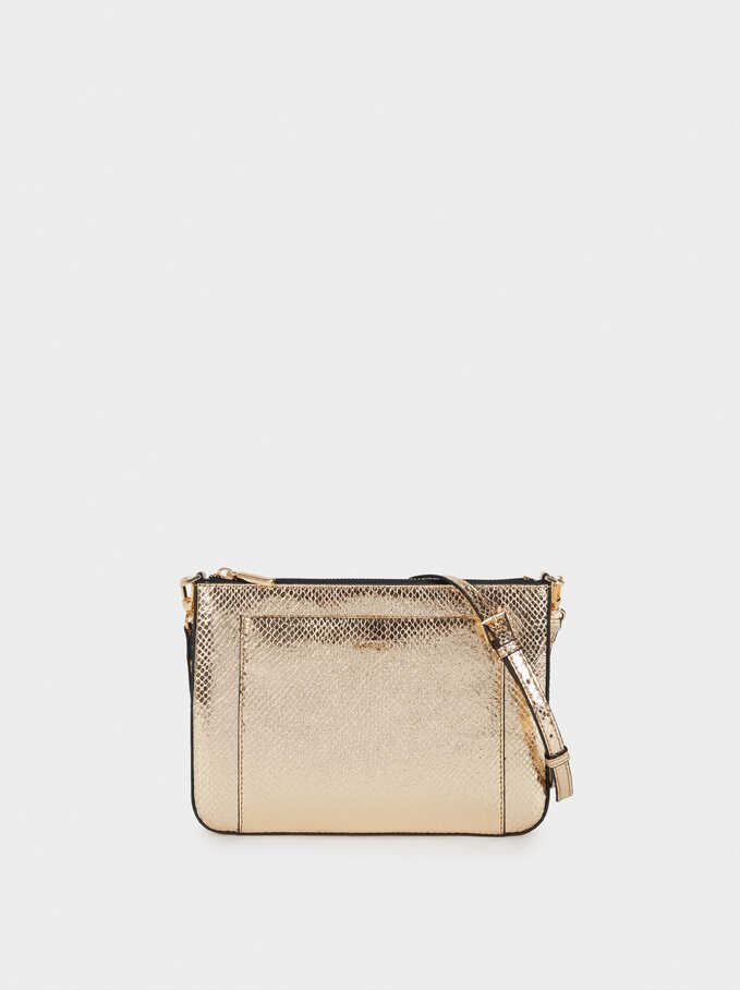 Embossed Metallic Crossbody Bag, Golden, hi-res