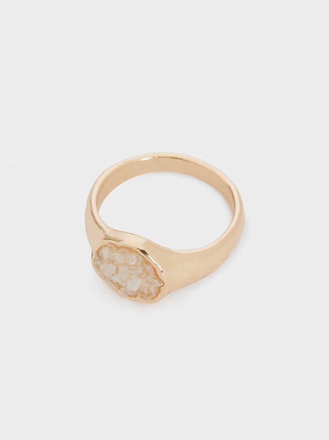 Ring With Crystals, Beige, hi-res