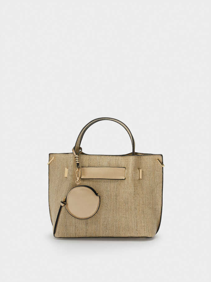 Textured Raffia Tote Bag With Removable Interior, Golden, hi-res
