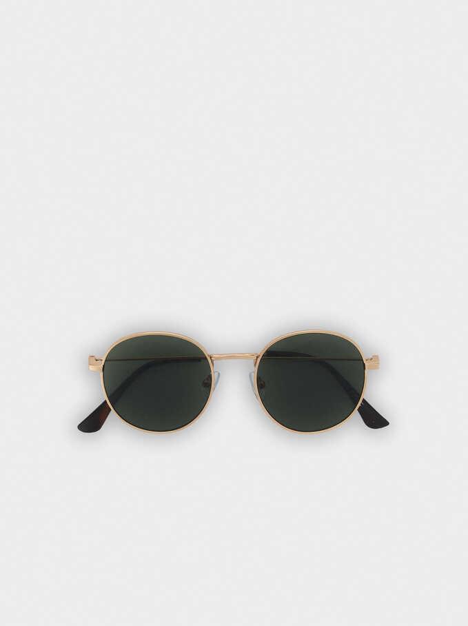 Gafas De Sol Metálicas Redondas , Dorado, hi-res